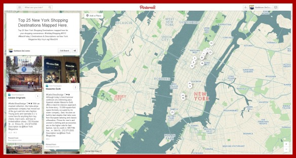 Top 25 NYC Shopping Destinations Place Pin Pinterest Map 2013