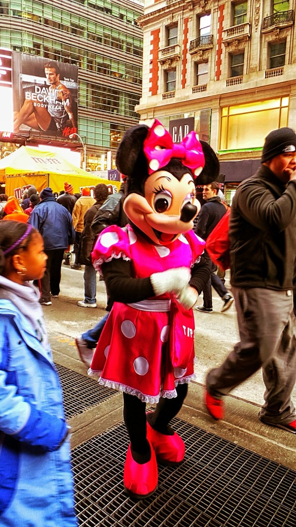 11. Minniw Mouse entertaining on SuperBowl Blvd. NYC