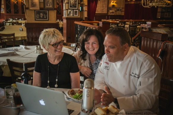 Carmines Times Square NYC -Susan Serra Katheen DeCosmo Glenn Rolnick    Special Edition Food & Booze Show Hosts  Mia Voss and Chef Dennis Littley  Photo Credit Anthony DeCosmo @adecosmo2 #52from52