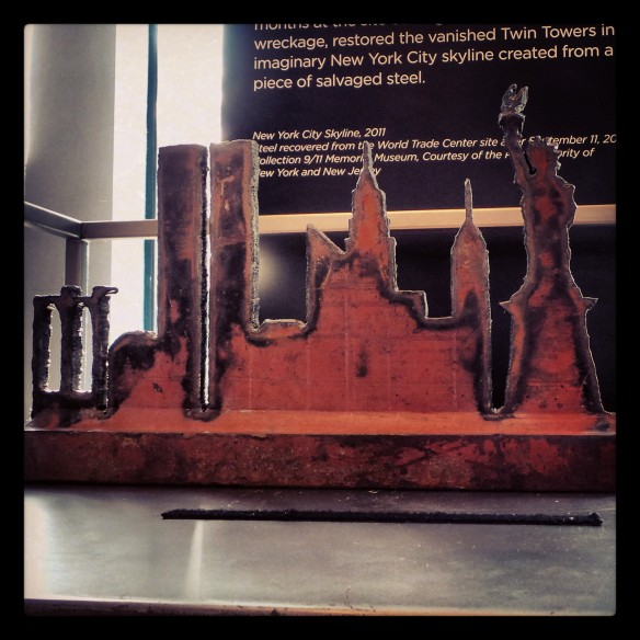 8. A 911 piece of salvaged steel restoring the vanished Twin Towers in imaginary NYC skyline