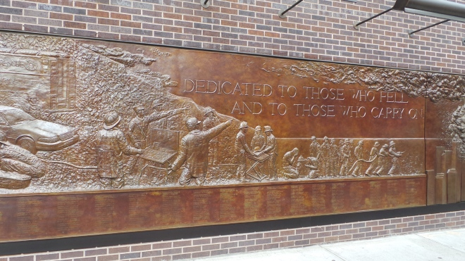 9. FDNY 911 Memorial Wall, a 56 foot bronze bas-relief Sculpture.  Located at FDNY Engine 10