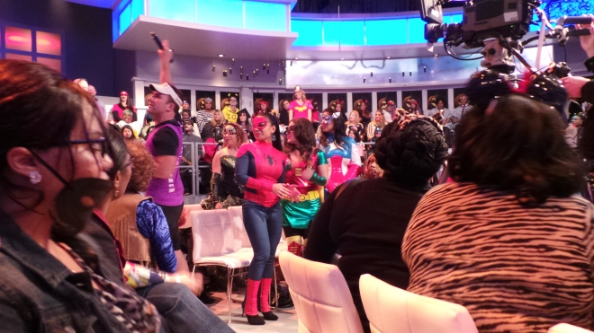 1b. Tom Kelly warming up the guests on the View's Halloween Show   shot by KatieSheaDesign