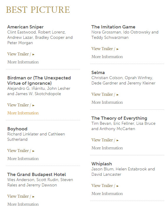 Oscar Best Picture Nomiations