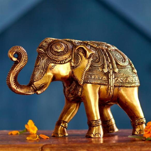 BRASS ELEPHANT OBJET CRAFT BY WORLD MARKET