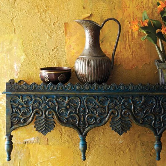 HAND CARVED BLUE SHELF CRAFT BY WORD MARKET