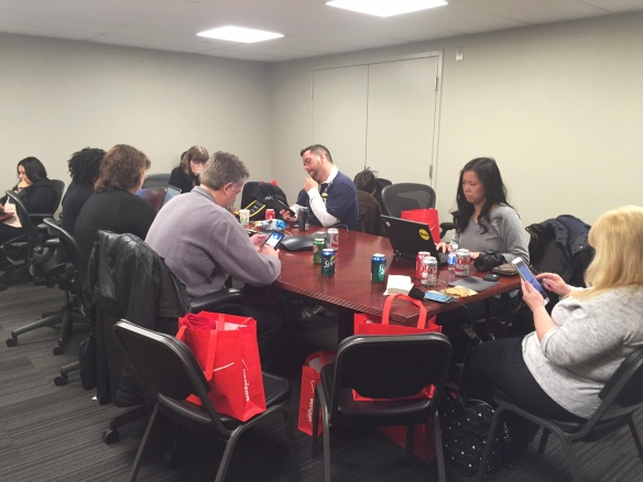 VZWBuzz  team tweeting for Weekly Twitter chat from the Verizon Boston Destination Store