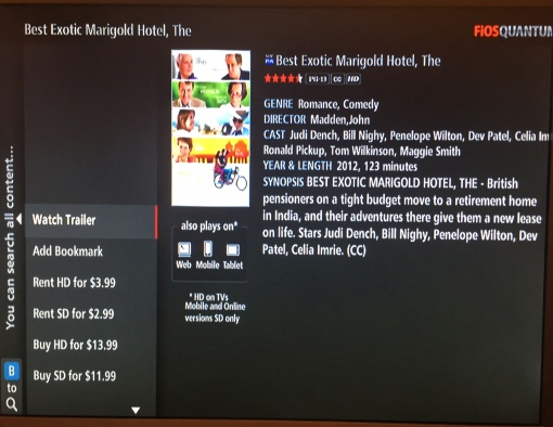 Watch the Best Exotic Marigold Hotel on Verizon FiOS