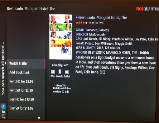 Watch the Best Exotic Marigold Hotel on Verizon FiOS