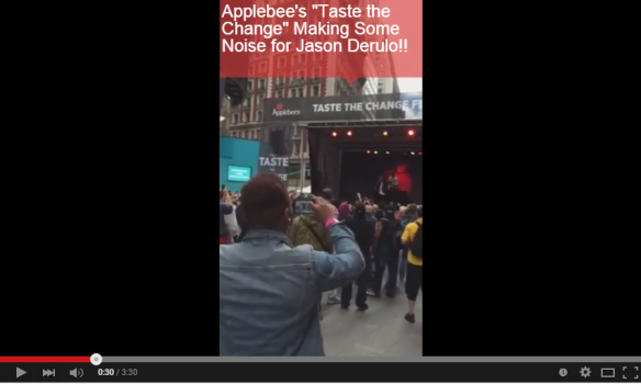 Applebees features Jason Derulo Taste the Change Times Square NYC Video shotby Kathleen DeCosmo VZWBuzz