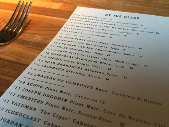 MKT Restaurant Wine List Image by Katie Shea Design