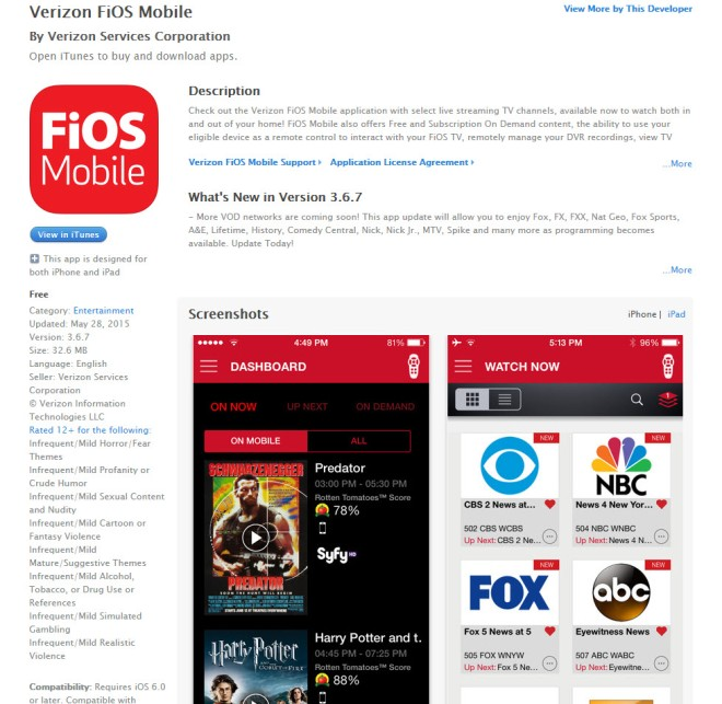 FiOS Mobile app for iPhone