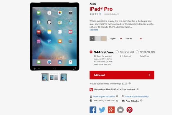 iPad Pro Verizon Wireless